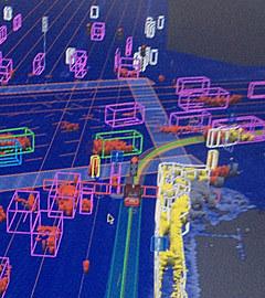 Так беспилотные автомобили Google воспринимают окружающий мир. Изображение с сайта dmvnv.com. (Нажмите, чтобы увеличить)