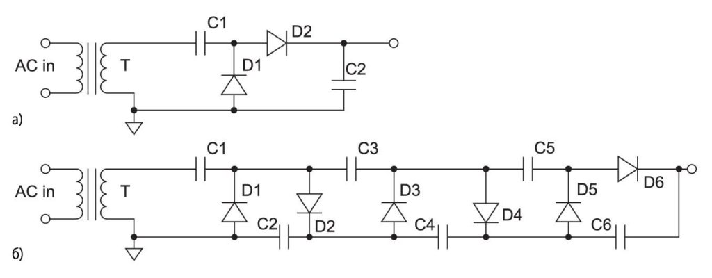 схема диодно-конденсаторного каскада и цепочки диодно-конденсаторных каскадов