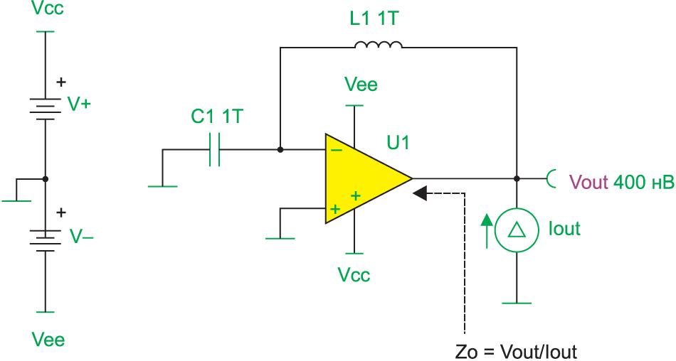 Тестовая схема для измерения выходного импеданса при разомкнутой цепи ОС