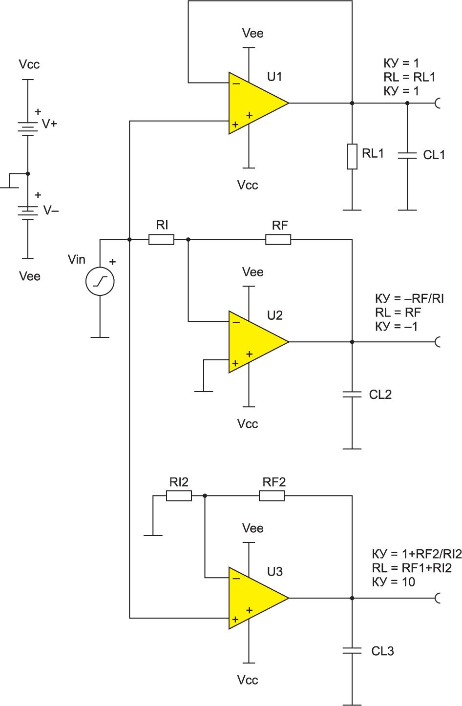 Схема для тестирования схемы с замкнутой ОС