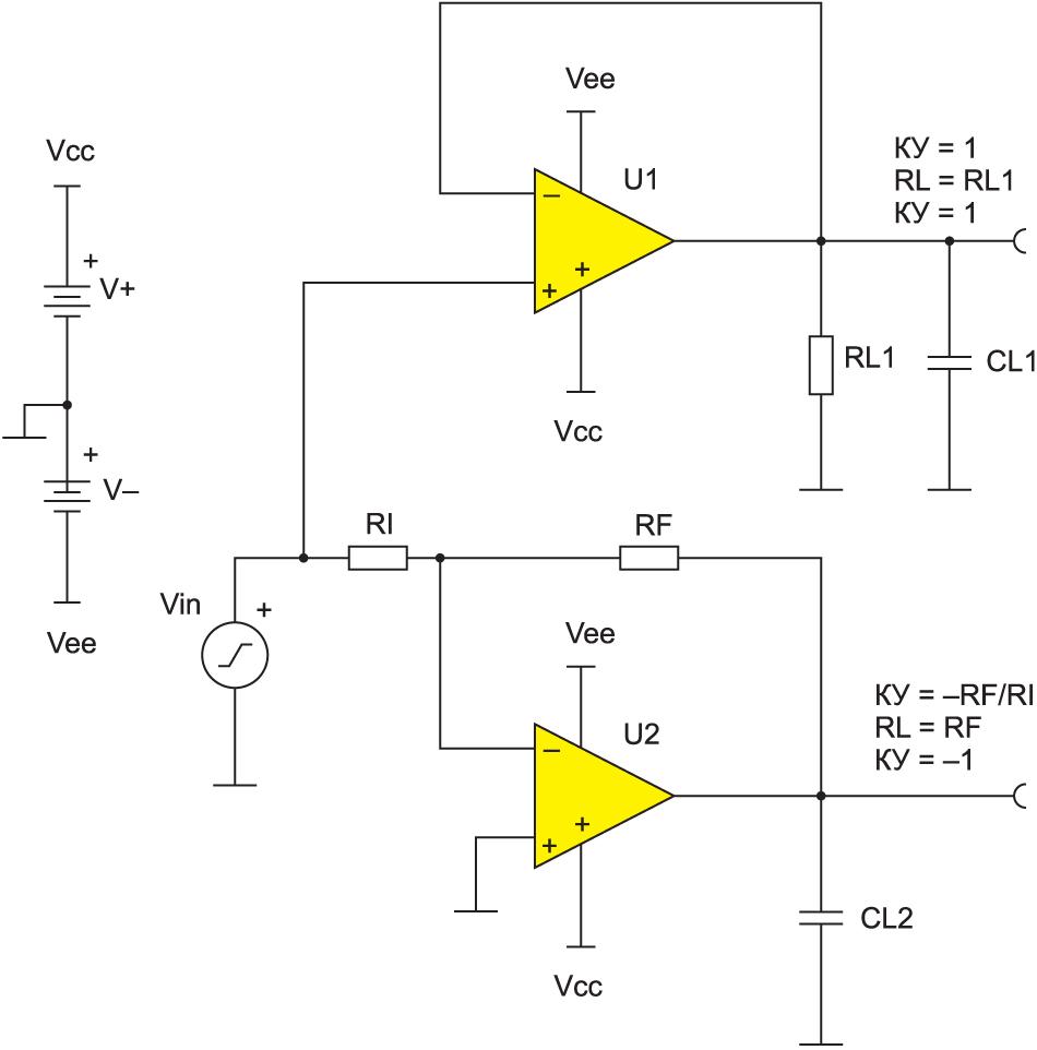 Схема для тестирования отклика схемы на прямоугольный импульс
