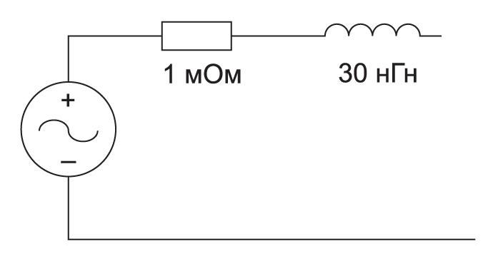 Упрощенная модель источника питания в виде стабилизатора напряжения