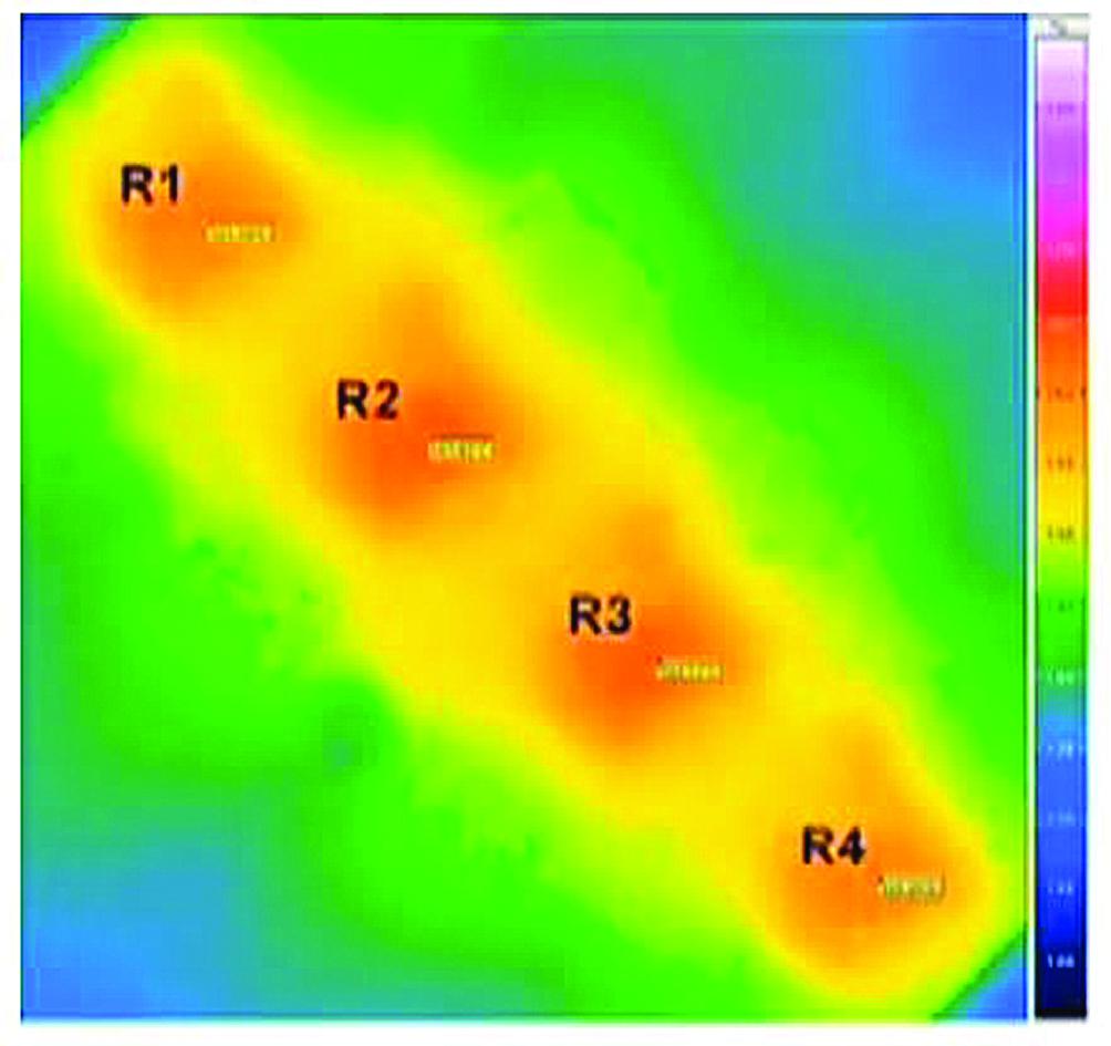 Распределение температуры в наборе резисторов