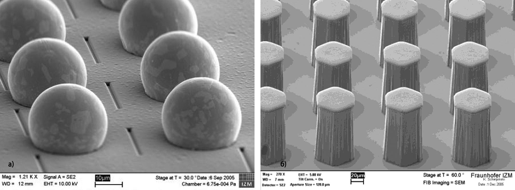 Объемные выводы на контактных площадках многослойных структур