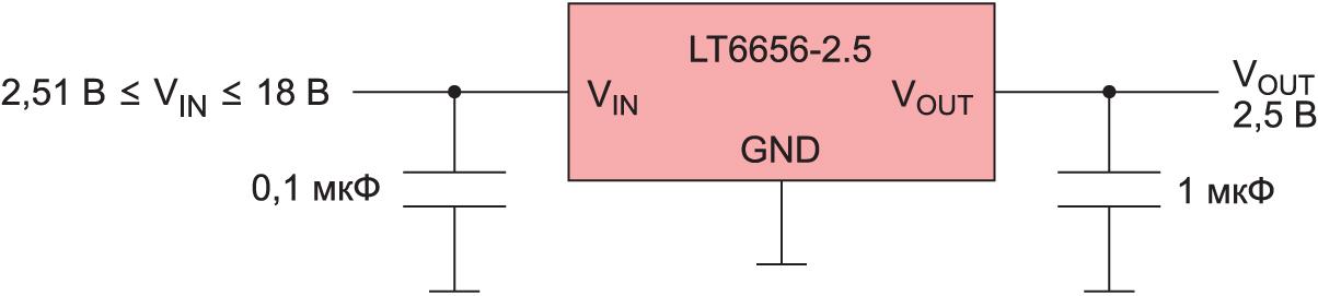 Базовая схема ИОН LT6656AIS6-2.5 от компании Analog Devices
