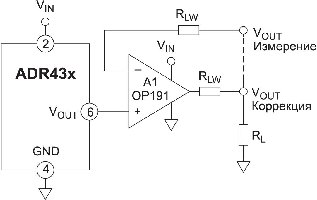 Устройства серии ADR43x можно использовать в конфигурации схемы Кельвина с помощью внешнего ОУ