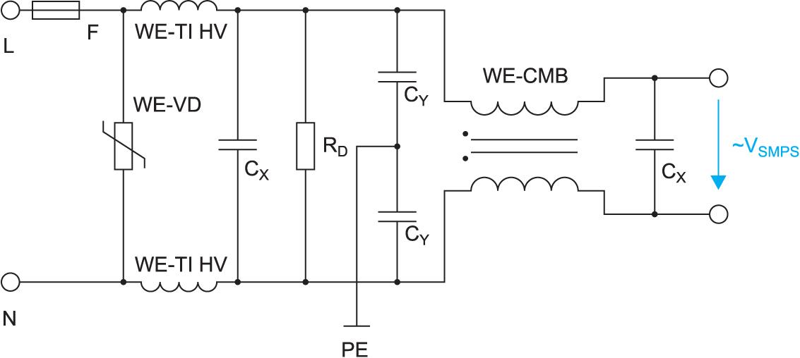 Сетевой фильтр с дросселем WE-CMB and WE-TI HV
