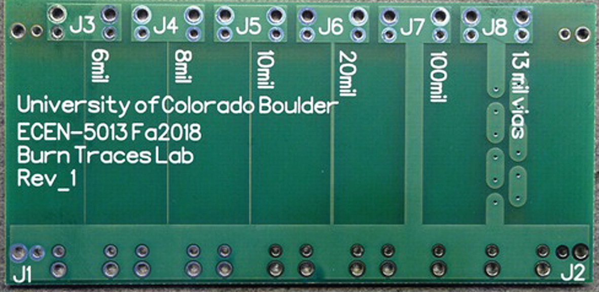 Образец испытательной платы для определения максимального тока, который могут пропускать проводники разной толщины