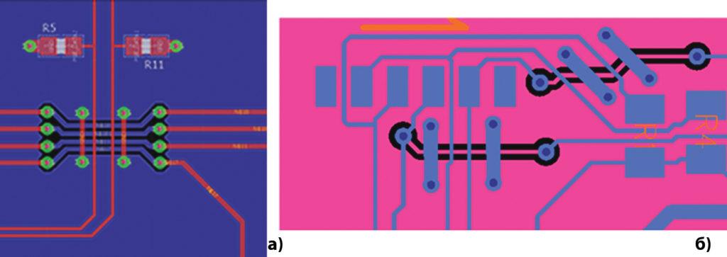 При пересечениях зазоров и проводников используются перемычки для прохождения обратного тока над зазорами