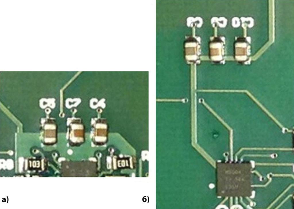 Пример корректного и некорректного размещения развязывающих конденсаторов на печатной плате