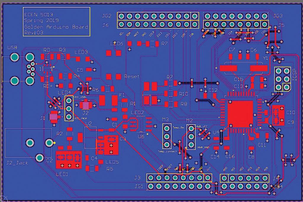 Двухслойная плата Arduino с микроконтроллером ATmega 32U4, реализованная в соответствии со всеми рекомендациями