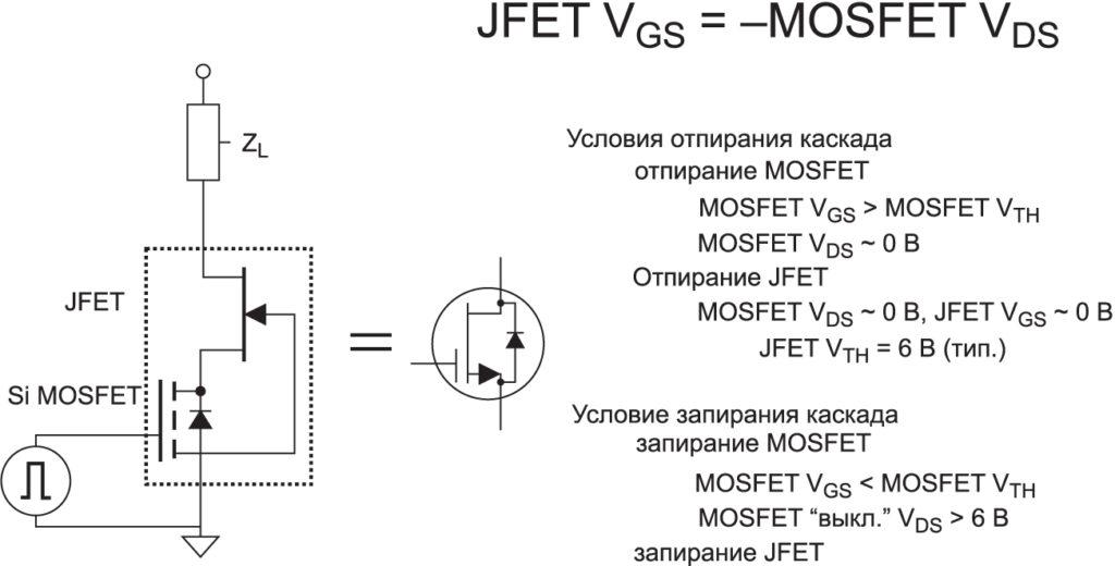 Схема каскода SiC JFET