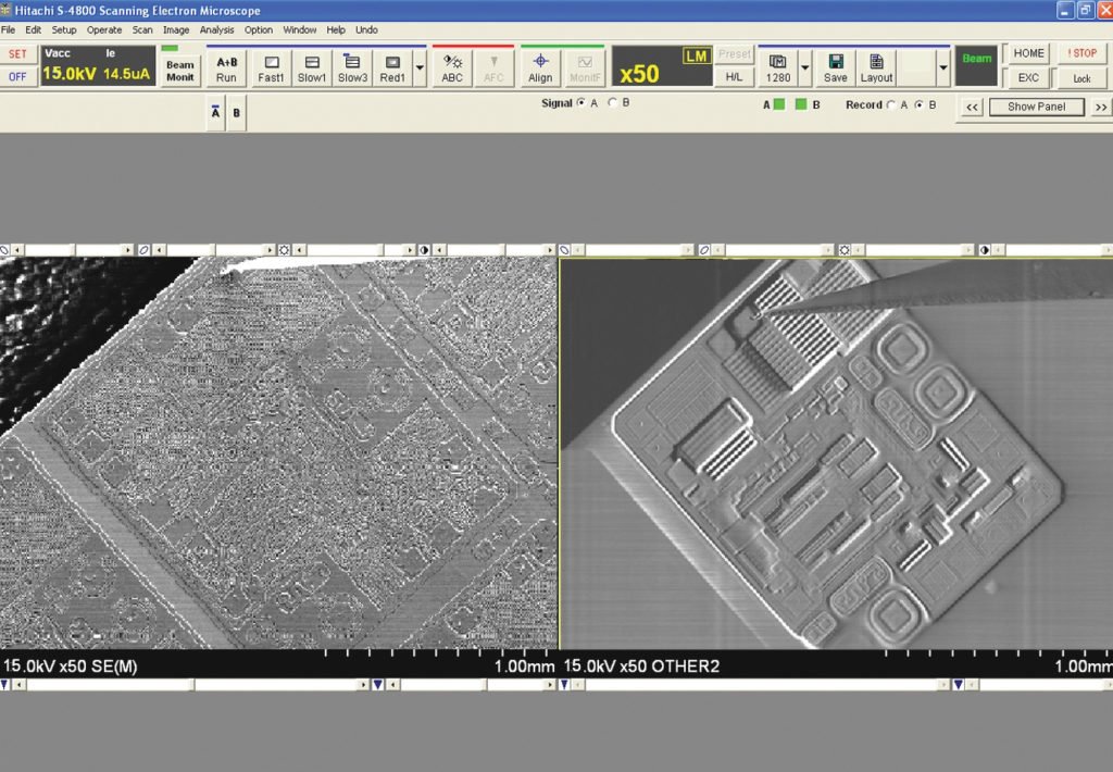 Изображение поверхности кристалла в режиме EBIC
