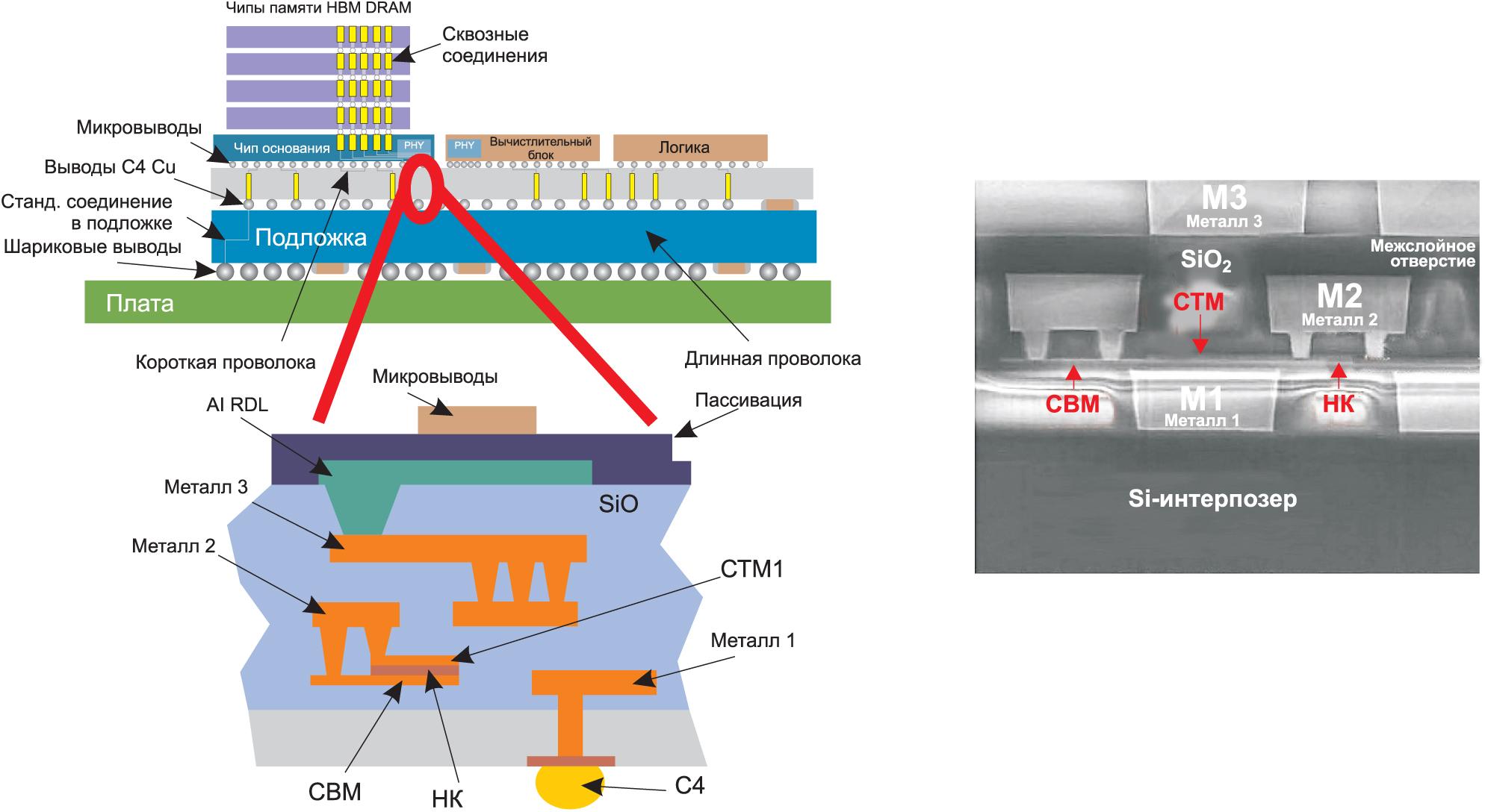 Структура 2,5D-сборки Chip-on-Wafer-on-Substrate (CoWoS) компаний TSMC и Broadcom