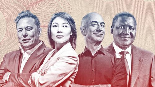 From left: Elon Musk, China's Kate Wang, Amazon founder Jeff Bezos and Nigeria's Aliko Dangote. MAJA HITIJ/GETTY IMAGES, STEFEN CHOW FOR FORBES, MICHAEL PRINCE FOR FORBES (2)