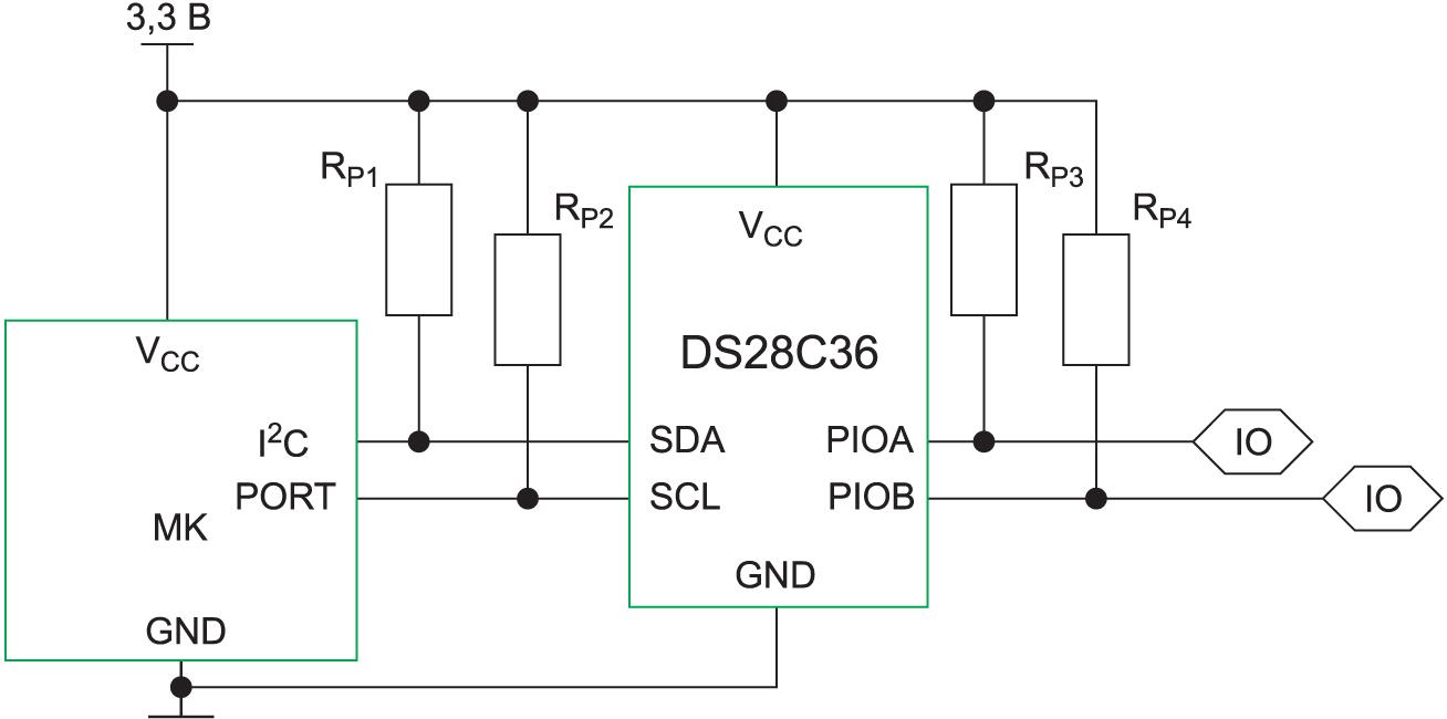 Подключение ИС безопасности Maxim DS28C36 к процессору по шине I2C. Защищенные порты ввода–вывода общего назначения служат для передачи сигнала об успешной или неудачной аутентификации в главном процессоре
