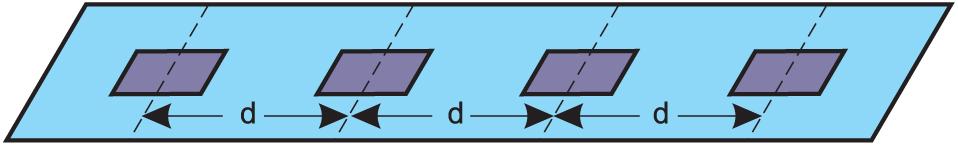 Линейный массив с равномерно распределенными элементами (N = 4)