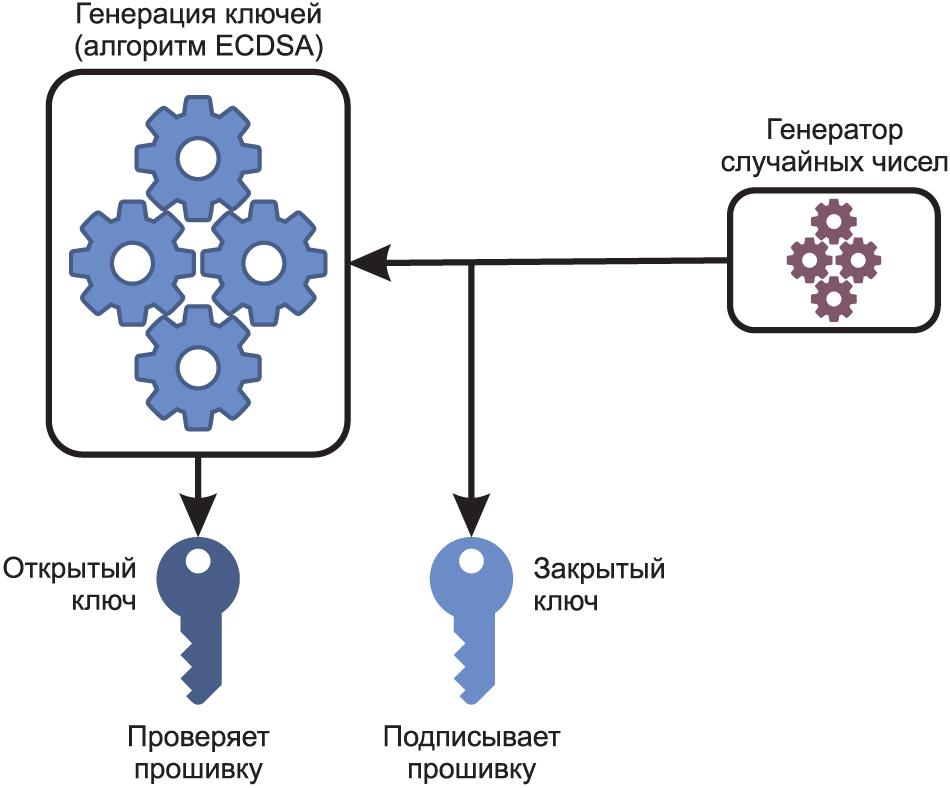 В асимметричной криптографии осуществляется генерация ключей по алгоритму ECDSA