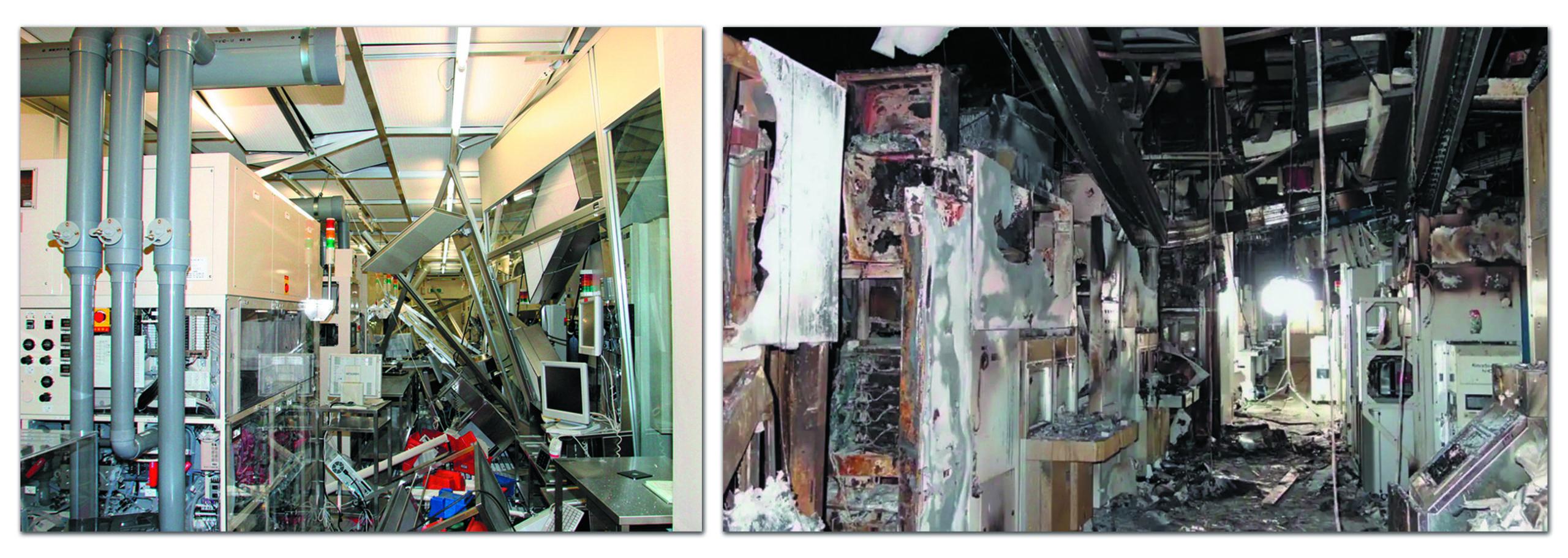«Чистая комната» завода Renesas Electronics в городе Нака в марте 2011 и в марте 2021 года